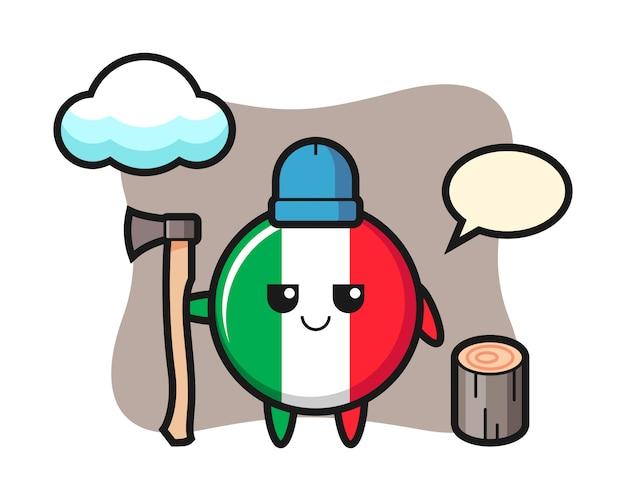 Fumetto del carattere del distintivo della bandiera dell'italia come taglialegna, stile carino, adesivo, elemento del logo