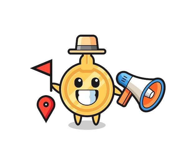 Personaggio dei cartoni animati chiave come guida turistica, design carino