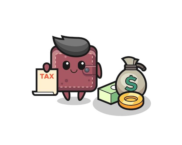 Personaggio cartone animato di portafoglio in pelle come ragioniere