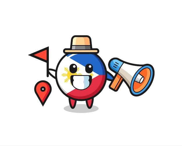 Personaggio dei cartoni animati del distintivo della bandiera delle filippine come guida turistica, design in stile carino per t-shirt, adesivo, elemento logo