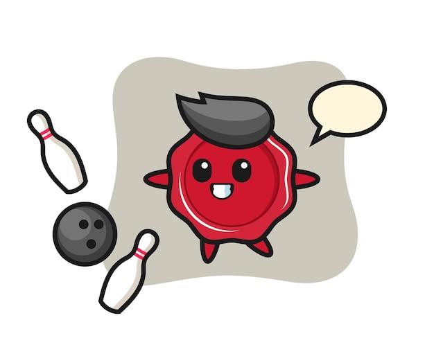 Personaggio dei cartoni animati di ceralacca sta giocando a bowling