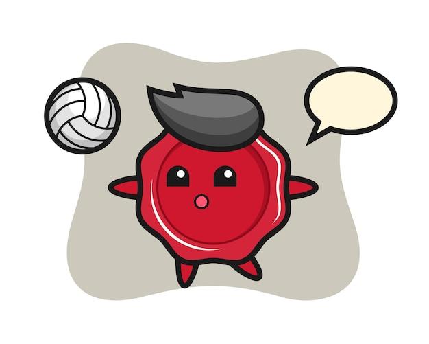 Personaggio dei cartoni animati di ceralacca sta giocando a pallavolo