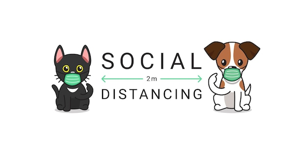 Personaggio gatto e cane che indossa una maschera protettiva