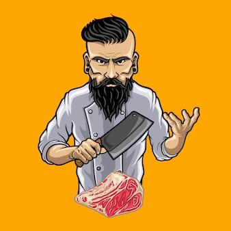 Chef personaggio che tiene in mano un coltello da macellaio