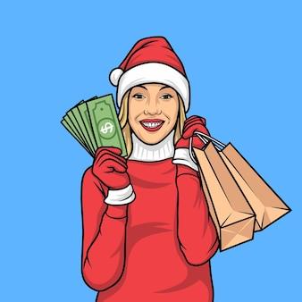 Personaggio shopping natalizio pinp