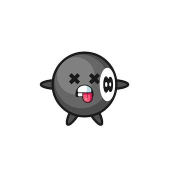 Personaggio del simpatico biliardo a 8 palle con posa morta, design in stile carino per maglietta, adesivo, elemento logo