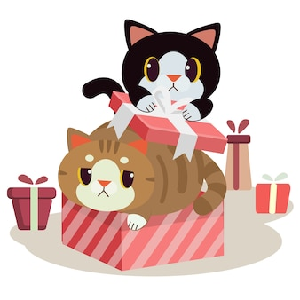 Il personaggio del simpatico gatto nella confezione regalo con uno stile piatto.
