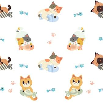 Il personaggio di un simpatico gatto che abbraccia un pesce e orme in stile piatto