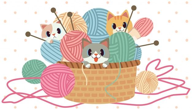Il personaggio del simpatico gatto che gioca nel filato nel grande cestino su sfondo bianco e pois rosa. il personaggio del simpatico gatto con gomitolo di lana e set per maglieria.