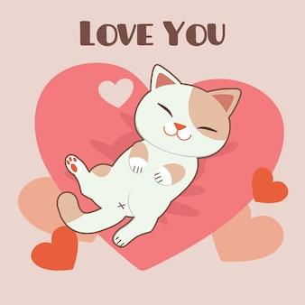 Il personaggio del simpatico gatto dorme sul cuscino rosa. il personaggio del simpatico gatto con il testo di ti amo.