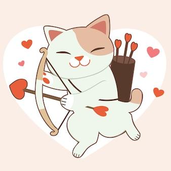 Il personaggio del simpatico gatto con la freccia del cuore sul cuore grande e rosa