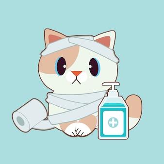 Il personaggio di simpatico gatto con carta igienica e gel per le mani di alcol