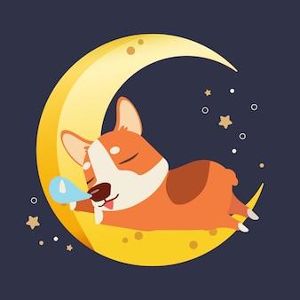 Il personaggio del simpatico corgi che dorme sulla mezza luna in stile piatto vettoriale.