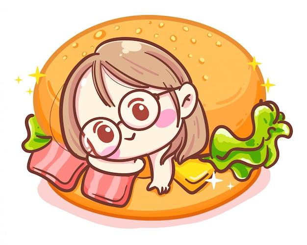 Carattere della ragazza carina e delizioso hamburger o panino al prosciutto su sfondo bianco con pasto fast food.