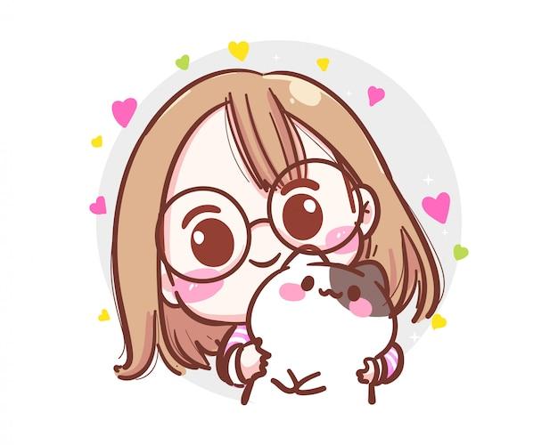 Carattere della ragazza carina abbraccia il piccolo gatto nel suo braccio su priorità bassa bianca con il concetto di amicizia.