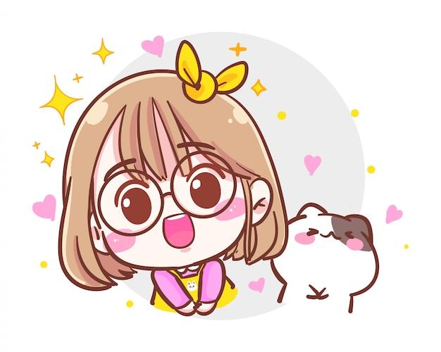Il personaggio della ragazza carina e del piccolo gatto si congratula con l'emozione su sfondo bianco con il concetto di congratulazioni o di benedizione.