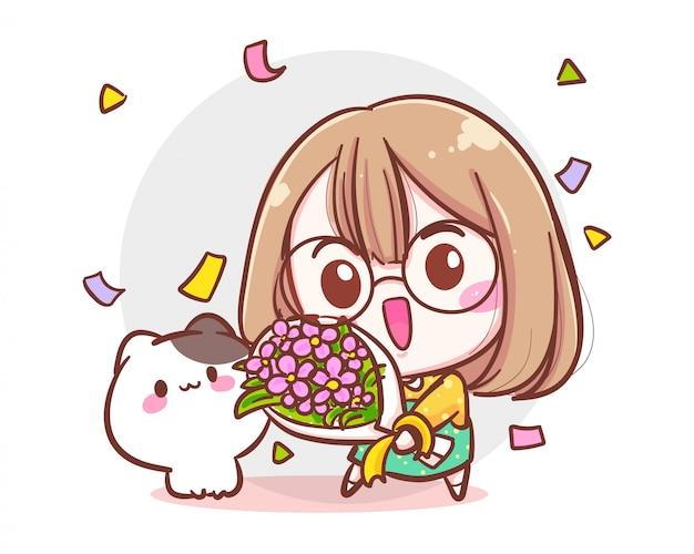 Carattere della ragazza carina e del piccolo gatto che tiene il mazzo del fiore su fondo bianco con il concetto di compleanno o di congratulazione.