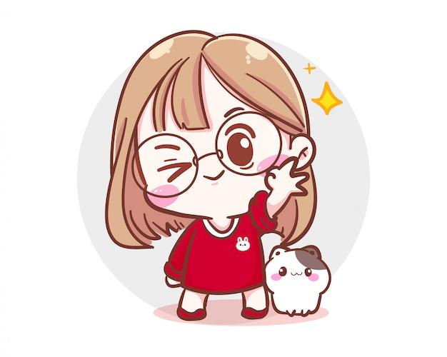 Carattere della ragazza carina e del piccolo gatto che mostra il segno giusto della mano su fondo bianco con tempo felice e umore allegro.