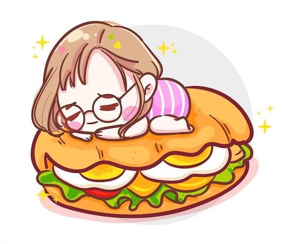 Carattere della ragazza carina che dorme su un delizioso hamburger o panino prosciutto su sfondo bianco con pasto fast food.