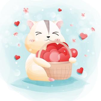 Il personaggio di un simpatico criceto con il cuore e l'amore.