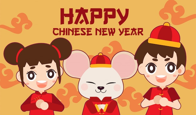 Personaggio di topo carino e ragazza e ragazzo con tema cinese di nuovo anno.