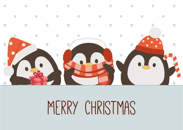 Il personaggio del simpatico pinguino indossa un costume natalizio in stile piatto.
