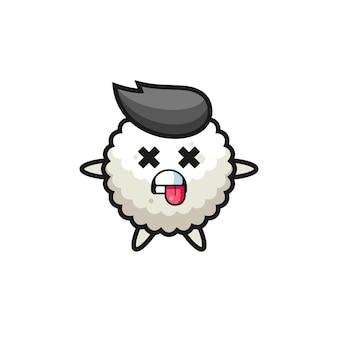 Personaggio della simpatica palla di riso con posa morta, design in stile carino per maglietta, adesivo, elemento logo