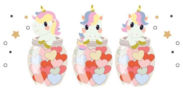 Il personaggio del simpatico unicorno con cuore di barattolo