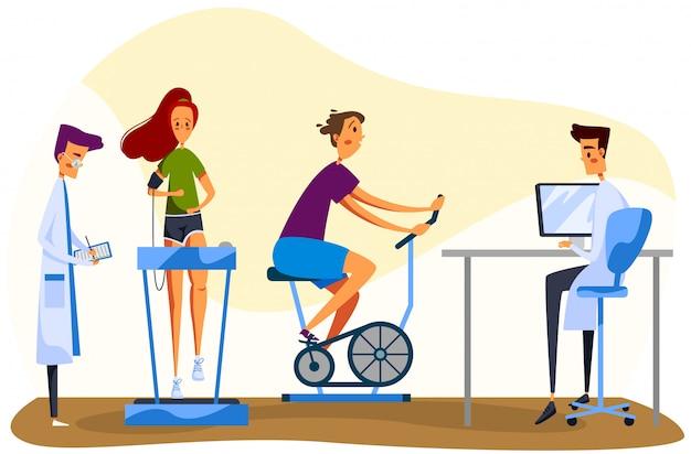 Carattere medico e paziente, medico maschio, femmina eseguire esercizi medici, cyclette donna, tapis roulant, su bianco.