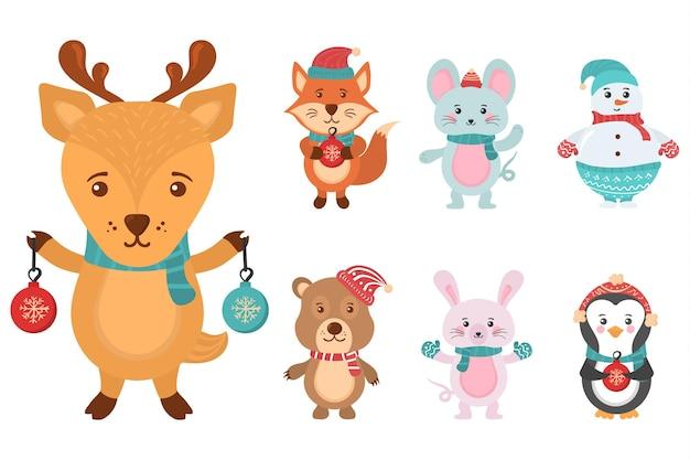 Personaggio in banner design piatto con simpatici animali natalizi pupazzi di neve in maglioni cappelli di babbo natale