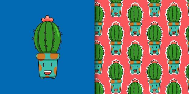 Carattere divertente cactus con seamless