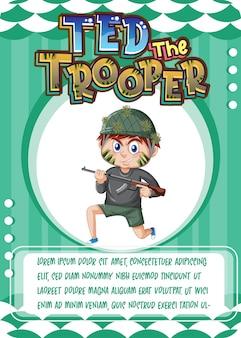Modello di scheda di gioco del personaggio con la parola ted the trooper