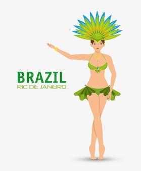 Carattere garota brasile rio de janeiro design