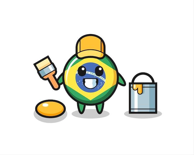 Illustrazione del personaggio del distintivo della bandiera brasiliana come pittore, design in stile carino per maglietta, adesivo, elemento logo