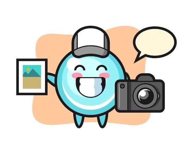 Illustrazione di carattere della bolla come fotografo, design in stile carino