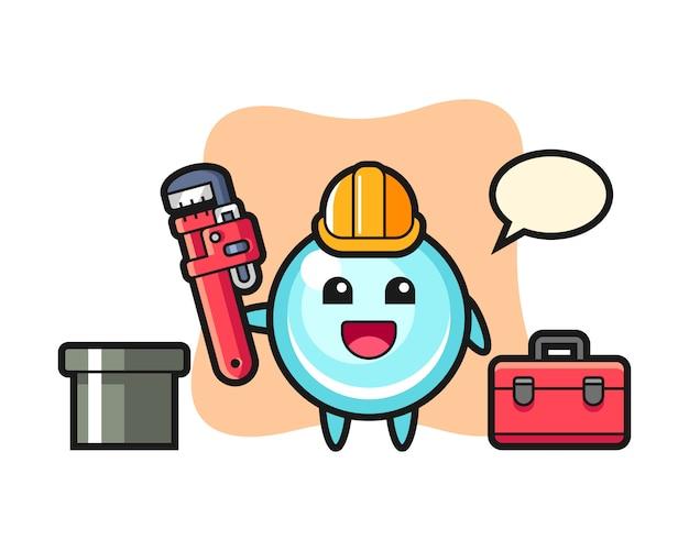 Illustrazione di carattere della bolla come idraulico, design in stile carino