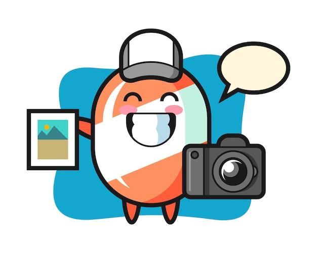 Illustrazione di carattere di caramelle come fotografo