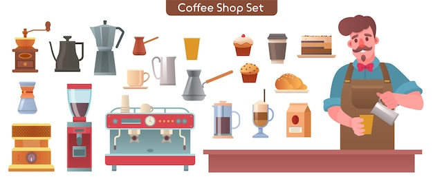 Illustrazione di carattere di elementi di set di caffetteria, bar o caffetteria. barista che fa il caffè al bancone. fascio di vari dolci, caffettiera, macinino, macchina