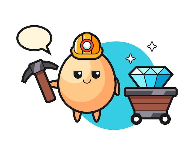 Illustrazione di carattere di uovo come minatore, design in stile carino per t-shirt, adesivo, elemento logo