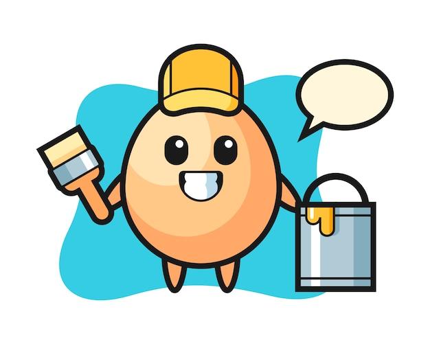 Illustrazione di carattere di uovo come pittore, design in stile carino per t-shirt, adesivo, elemento logo