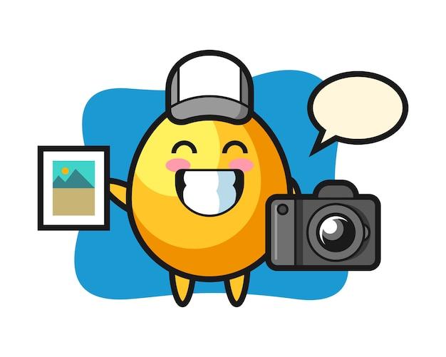 Illustrazione del personaggio dell'uovo d'oro come fotografo, design in stile carino