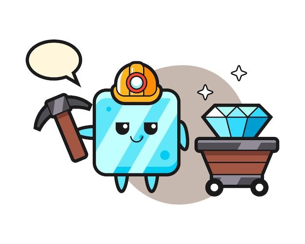 Illustrazione del carattere del cubetto di ghiaccio come minatore