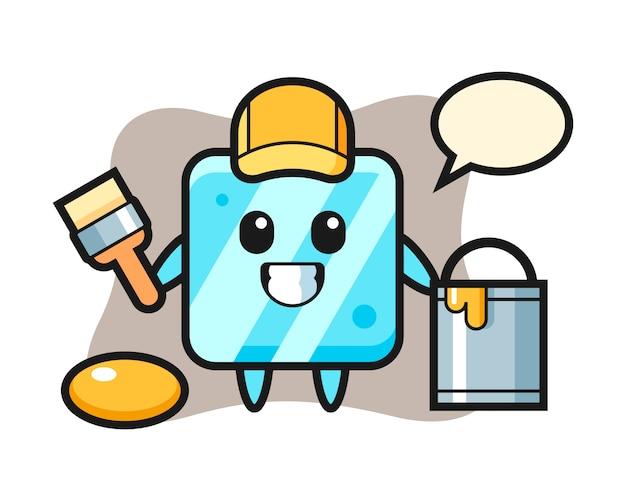 Illustrazione del personaggio del cubetto di ghiaccio come pittore