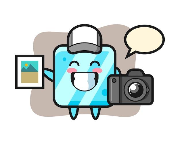 Illustrazione del carattere del cubetto di ghiaccio come fotografo