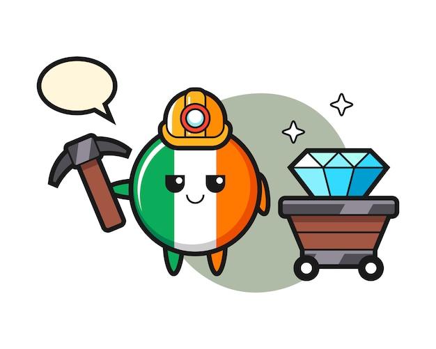 Illustrazione del carattere del distintivo della bandiera dell'irlanda come minatore