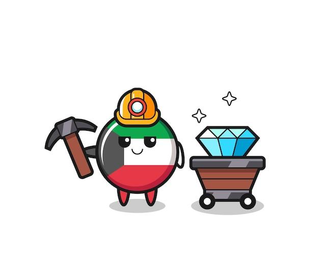 Illustrazione del personaggio del distintivo della bandiera del kuwait come minatore, design carino