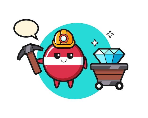 Illustrazione del personaggio del distintivo della bandiera della lettonia come minatore, design in stile carino per maglietta, adesivo, elemento logo