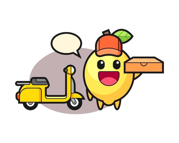 Illustrazione del carattere del limone come fattorino della pizza