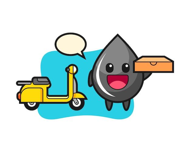 Illustrazione del personaggio della goccia di olio come fattorino della pizza