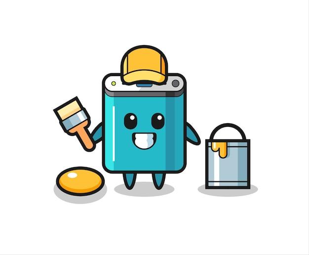 Illustrazione del personaggio di power bank come pittore, design in stile carino per t-shirt, adesivo, elemento logo